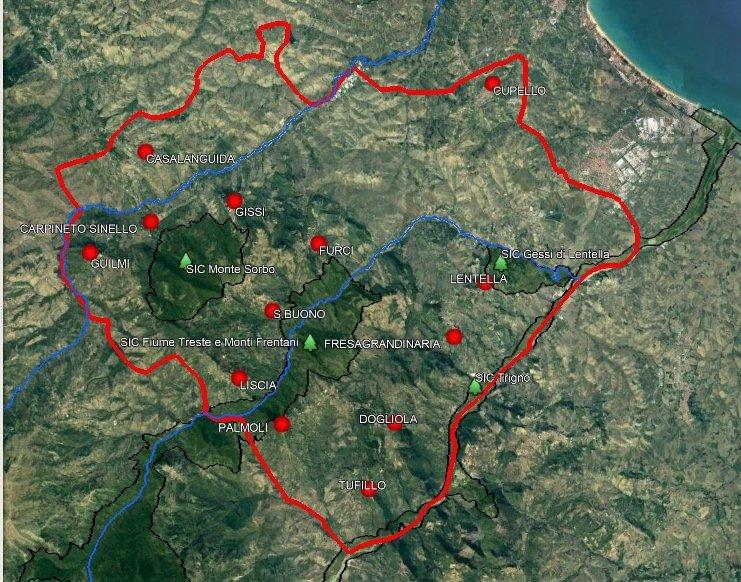 mappa della Comunità Medio Vastese